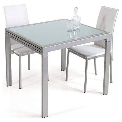 takestop® Tavolo da Pranzo Vetro TEMPERATO ALLUNGABILE Fino 240x85 CM Gambe  Acciaio 120x85 CM Chiuso Estensibile Design Cucina Soggiorno Salone