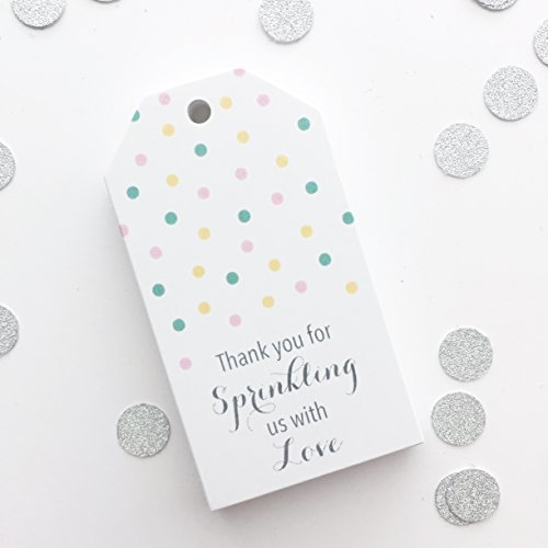 - 20 Sprinkle Shower Gift Tags, Sprinkle Baby Shower Favor Tags, Baby Girl Shower Tags (MLT-116)