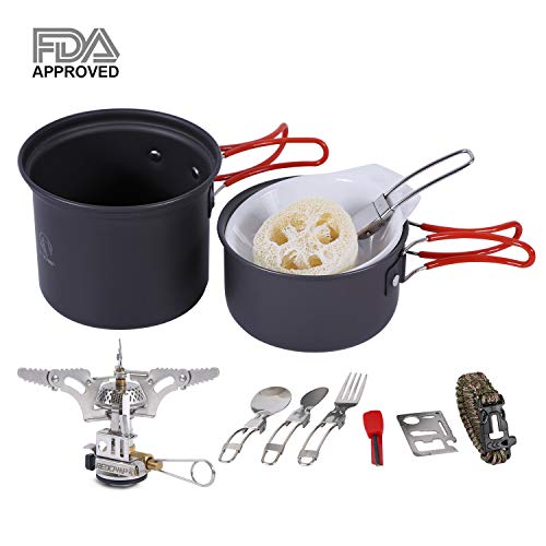 ware Mess Kit with Stove,800ml(28oz) for 1 Person Ultralight & Foldable Backpacking CookSet, Free Sporks&Tripod ()