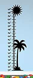 Growth Chart Tropical Wall Decals Stickers, Black, 48\