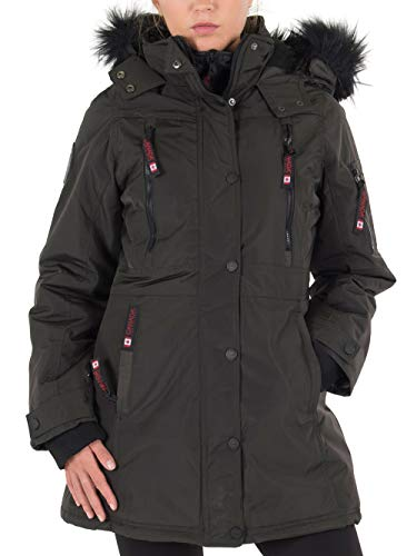 CANADA WEATHER GEAR Women's Long Outerwear Jacket with Faux Fur, Olive/Blush with Colored CW04, M