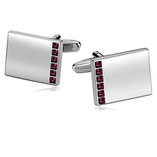 - Aooaz Mens Stainless Steel Cufflinks Crystal Smooth Rectangle Silver Business Wedding Shirt 1.9x1.5cm