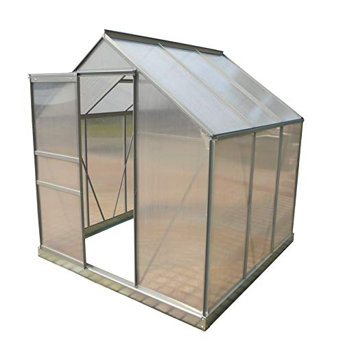 ALEKO GHA003 Outdoor Walk-in Poly-Carbonate Greenhouse with Aluminum Frame 77 x 75 x 77 Inches