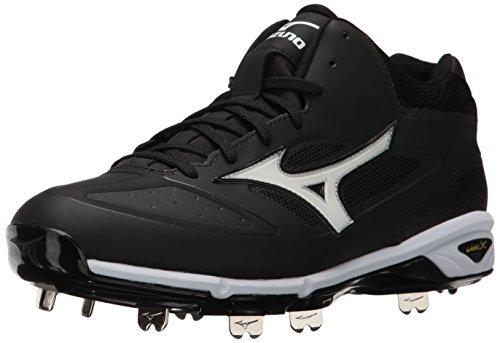 Mizuno Men's Dominant IC MID Baseball Shoe, Black/White, 11 D ()