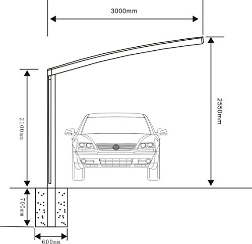 10' x 20' Metal Carport Tent Shelter Attached Carport Metal Aluminum With Gutter And Polycarbonate Panel, Metal RV Carports for Car, Yacht And Copter, Also Is Luxury Patio Cover by ClearYup (Image #3)