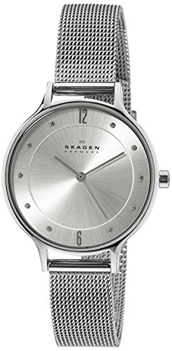 Skagen Ladies Mesh - Skagen Women's Anita Quartz Stainless Steel Mesh Casual Watch, Color Silver-Tone (Model: SKW2149)