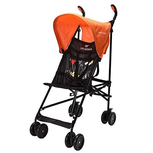 Wonder buggy Lightweight Baby Jumbo Umbrella Stroller with Rounded Hood (Orange)