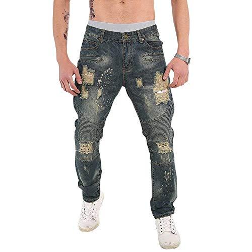Pantaloni In Fibbia cher Alta Da Fit Bassa Con Jeans A Vita Di Casual Slim Uomo L 0Arq0