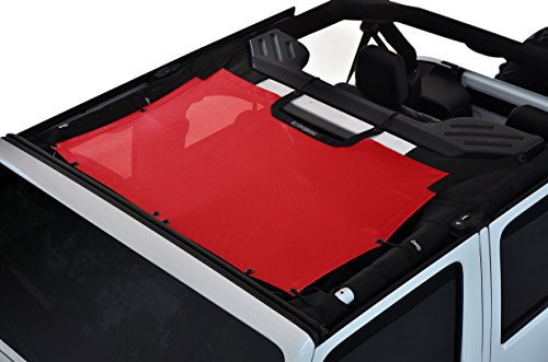 Eclipse Sunshade (SPIDERWEBSHADE Jeep Wrangler JKini Mesh Shade Top Sunshade UV Protection Accessory USA Made with 5 Year Warranty for Your JK 2-Door and JKU 4-Door (2007-2017) in Red)