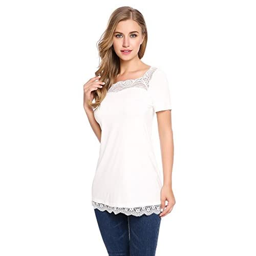 Top ELESOL Womens Short Sleeve Loose Tops Solid Basic Lace Trim Patchwork T Shirts for cheap