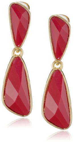 Kenneth Jay Lane Gold-Plated Faceted Resin Clip-On Drop Earrings by Kenneth Jay Lane
