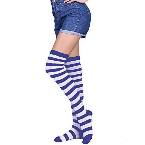 Womens Girls Long Striped Socks Girls Over Knee Thigh High Rainbow Crazy Funny Cute Costume Cosplay Party Stockings -