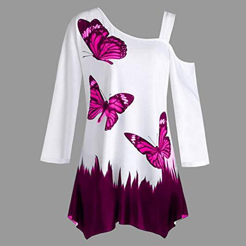 Blouse Mode Vif Femme Chic Tshirt Haut Dnud Papillon Manche Top paule SANFASHION Rose Longue Imprim U4pv4