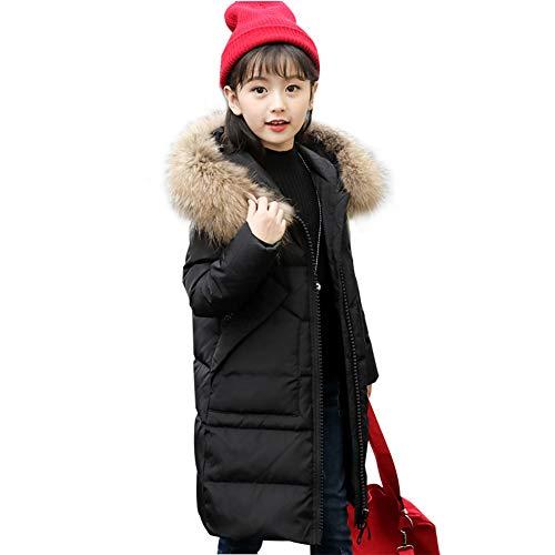 SITENG Girls' Kids Winter Fur Hooded Down Coat Puffer Jacket Parka 9 10 11 12 Years Overcoat for Big Girls Black