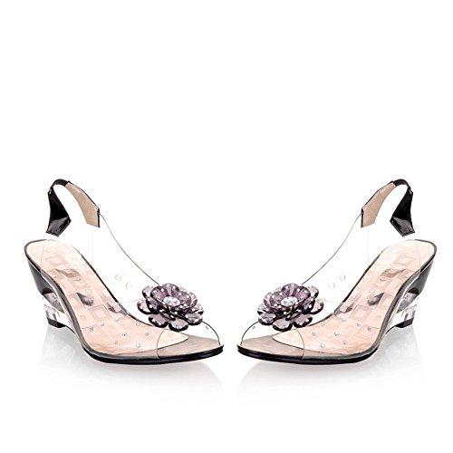 Con Transparentes Abierta Blanco Azul Casual Punta Rojo Para Sandalias Exing Alto Amarillo De Tacón Cuña Mujer D Zapatos Negro gTqnvwIx8