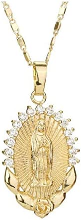 Necklaces for Women,Necklaces la luen Crystal Rhinestone Virgin Mary Pendant Necklace for Girl Men