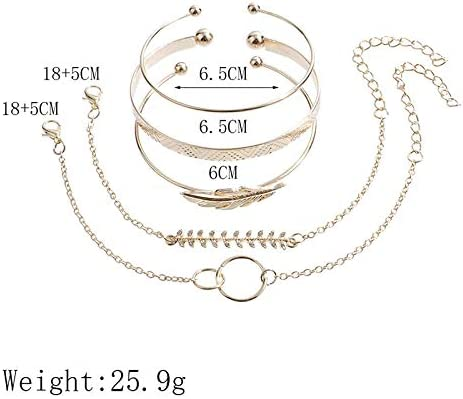 RSWJ 女性のパンクのための5pcs /セットゴールドカラー・ムーンリーフクリスタルオパールオープンブレスレットセット (Color : B00113)