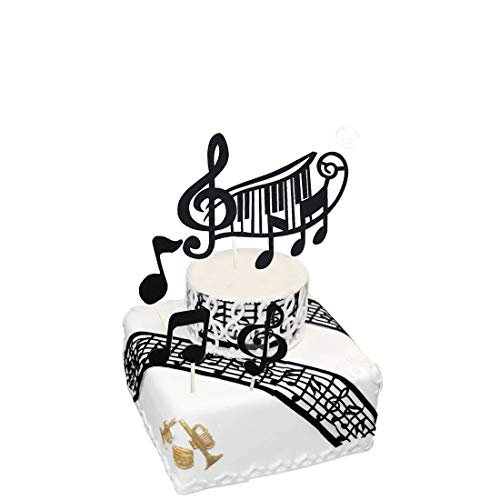 music notes Cake Toppers,musical theme birthday party supplies,black music notes cupcake toppers (Black) Suitable for Kids, Adults, Girls, Boys -