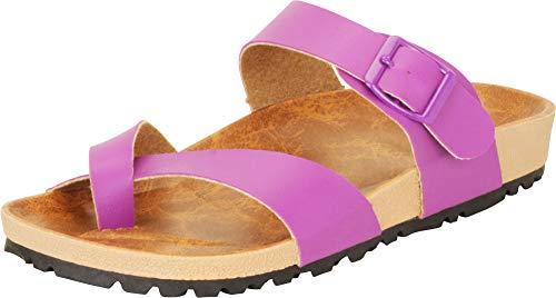 (Cambridge Select Women's Crisscross Thong Toe Ring Slip-On Slide Sandal (10 B(M) US, Purple))