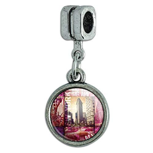 GRAPHICS & MORE New York City Big Apple Art Collage Italian European Style Bracelet Charm Bead