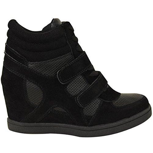 basket Hauteur Bottines Compensées Suède Fashion Thirsty Heelberry Imitation Noir Style Cheville Sportif Femme SxgS8wZq