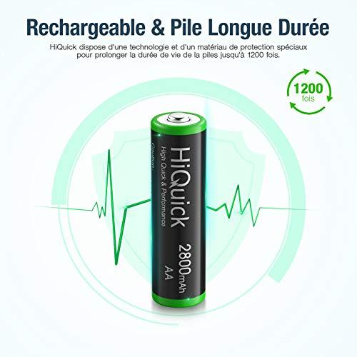 HiQuick Piles Rechargeables AA, Ni-MH 2800mAh 1,2V 8PCS, Accu de Haute Capacité avec Une Décharge Constante, AA Mignon LR6, Plus de 1200 Cycles, Batteries Rechargeables AA avec Boîte à Piles