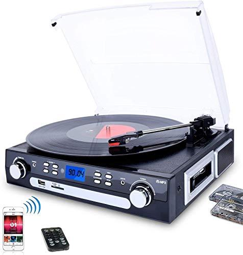 DIGITNOW! Tocadiscos Bluetooth con Estéreo Altavoces,33/45/78 RPM Apoyos Cassette/Radio/Vinilo a MP3 USB Codificación…