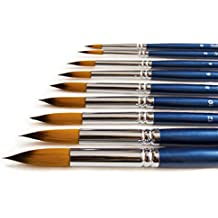 The Art Chest Round Artist Paint Brushes for Acrylic Watercolor Ink Gouache Tempera Oil Face Body Painting Prime Quality Professional Brush Set of 9 Long Wood Handle Golden Nylon No Shedding Pointed