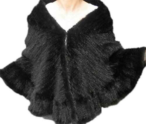Yr Lover New Knitted Mink Fur Cape Shawl Stole Cloak For Women In Winter