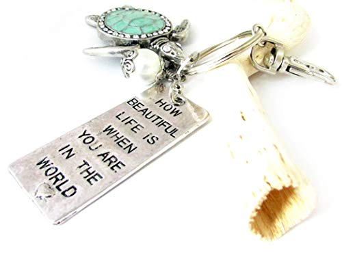 Sea Turtle Keychain, Quote Keychain, Easter Gift for Her