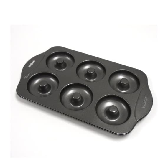 Norpro Nonstick Mini Donut Pan 1 Pan measures 13 Inch/33cm length by 8 Inch/.20cm width by .75 Inch/2cm deep Pan makes 12 mini donuts at a time, each 2 Inch/5cm each Durable nonstick coating helps ensure effortless food release