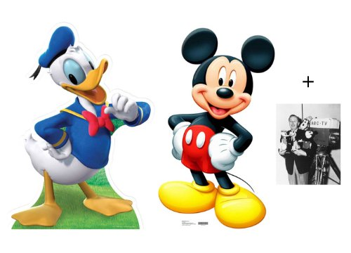 FAN PACK - Mickey Mouse and Donald Duck LIFESIZE CARDBOARD CUTOUT (STANDEE / STANDUP) - INCLUDES 8X10 (25X20CM) STAR PHOTO - FAN PACK #Set281
