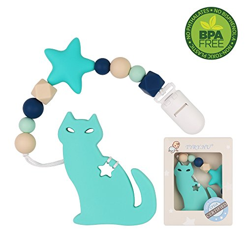 Infant Cat (Pacifier Clip with Cat Teether for Boys TYRY.HU Baby Teething Teether Toys BPA Free Silicone Beads for Baby Birthday Shower Gift Binky Holder Set (Green))