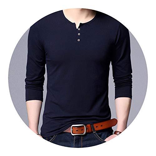 1ad32d9ef5b Cotton Trending Tops Street Style Boyfriend Gift Long Sleeve T-Shirt Men  Clothing,Navy