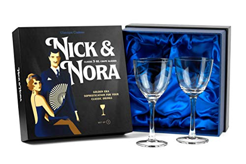 Crystal 5 oz Vintage Nick and Nora Coupe Glasses | Set of 2 | Retro Bar Glassware for Classic 4 oz Cocktail Drinks…