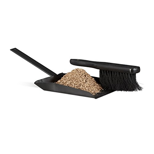 - Relaxdays Dustpan and Brush Set, 37 cm, Steel, Sweeping Set with Broom, Eyelet, Outdoor and Indoor, Black