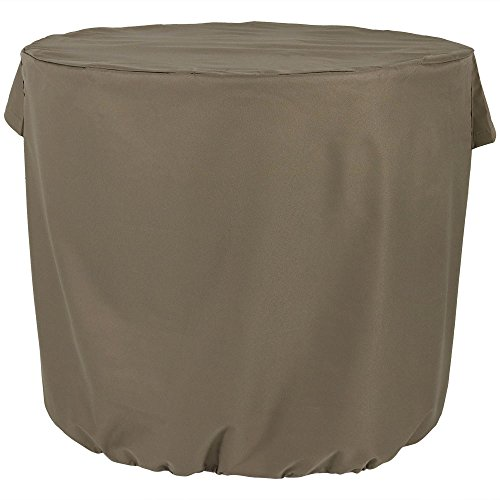 Sunnydaze Outdoor Air Conditioner Cover for Outside Units - Heavy Duty Round Outdoor Central AC Unit Cover - Waterproof & Weather Resistant - Khaki, 34 x 30 Inch ()