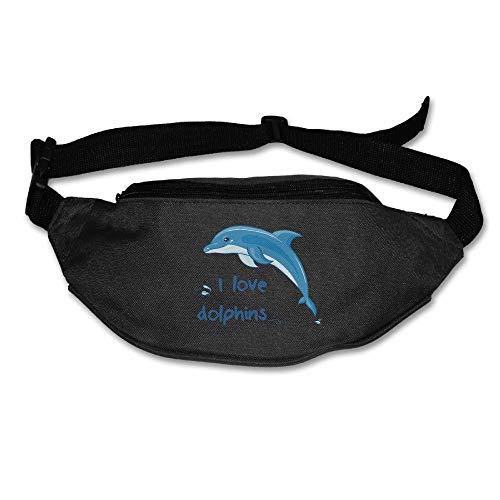 Amkong Fashion Fanny Pack Waist Bags I Love Dolphins Fanny Pocket Adjustable Hip Bag Waist Pack