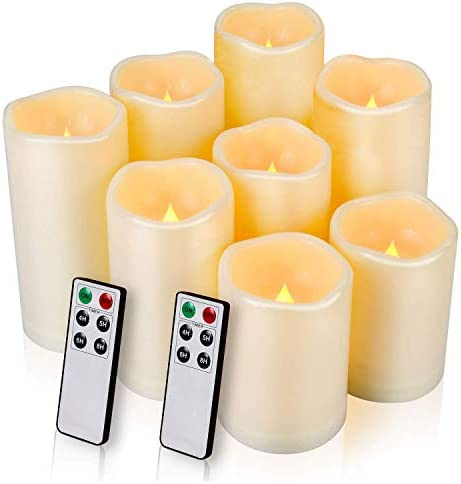 Flameless Candle,Salipt LED Waterproof Candles Set of 8 D 3.3 X H 3 3 4 4 5 5 6 6 Battery Operated Candles,Flameless Candles,Resin Plastic,Indoor Outdoor Use,Ivory