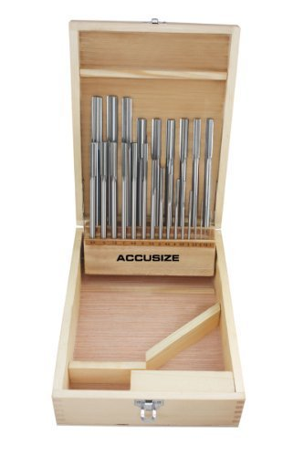 Accusize Industrial Tools 1-13 mm by 0.5 mm High-speed Steel Chucking Reamer Set in a Fitted Case, Set of 25 Pieces…