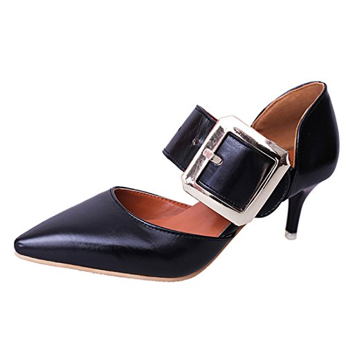 Gaorui Women Lady Pointed Toe High Heel Stilettos Shoes Faux Leather Buckle Party Pumps by Gaorui