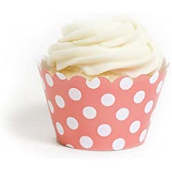 Dress My Cupcake Coral Polka Dot Cupcake Wrappers, Set of 12