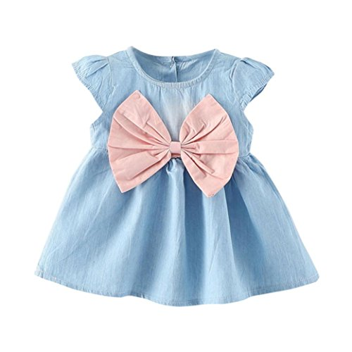 (Toddler Baby Girls Party Priencess Dress,Summer Bowknot Dress Solid Denim Clothes Dress 0-24M (Pink, 18-24 Months))