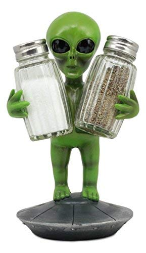 - Ebros UFO Outer Space Colony Extra Terrestrial Green Roswell Alien On Flying Saucer Spaceship Salt And Pepper Shakers Holder Statue 7