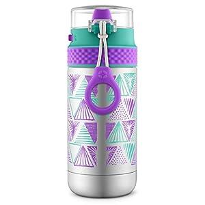 Ello Ride Stainless Steel Water Bottle, Mint/Purple, 14 oz.