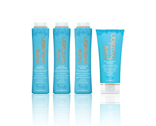 Pure Brazilian - 4 Piece Essential Home Care Kit - Anti Frizz Serum, Shampoo, Conditioner, And Deep Conditioning Masque- TRAVEL (Essentials 4 Piece Kit)