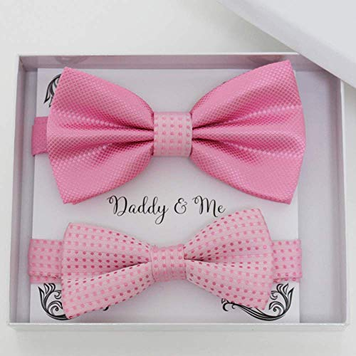 Pink bow tie set for daddy and son,