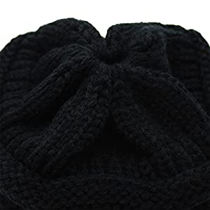 HonYea Knit Hat Warm Beanie Hat With Ponytail Hole For Women,Black