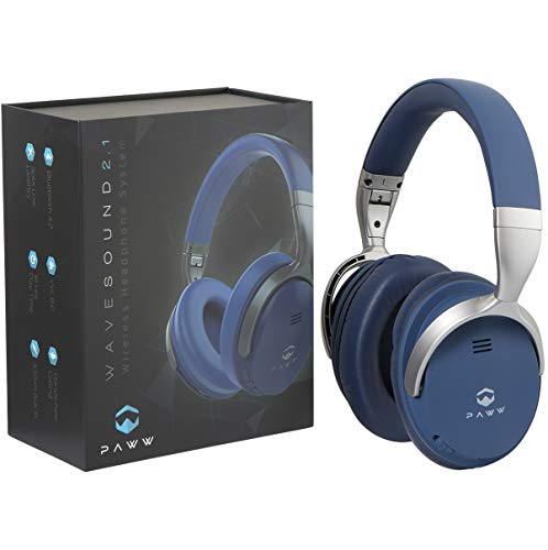 Paww WaveSound 2.1 Wireless Bluetooth Over-The-Ear Foldable Headphones/Headset with Mic, aptX Low Latency (34 ms) Super Fast Audio for TV, PC Gaming, Wired Mode (Blue)