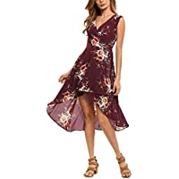 Pagacat Womens Boho V-Neck High Low Party Dress (Floral Print)